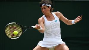 Carla Suárez, en el partido ante Serena Williams.