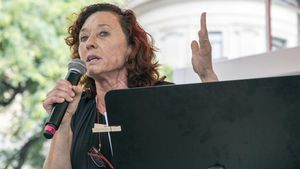 Maite Carranza, en la presentación de Escrivim en la Setmana del Llibre en Català.
