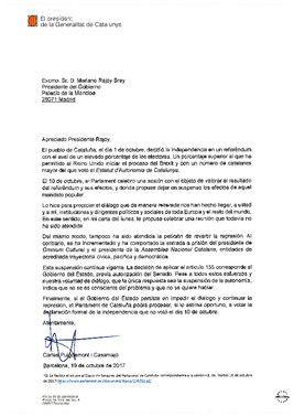 Segunda carta de Puigdemont a Rajoy.