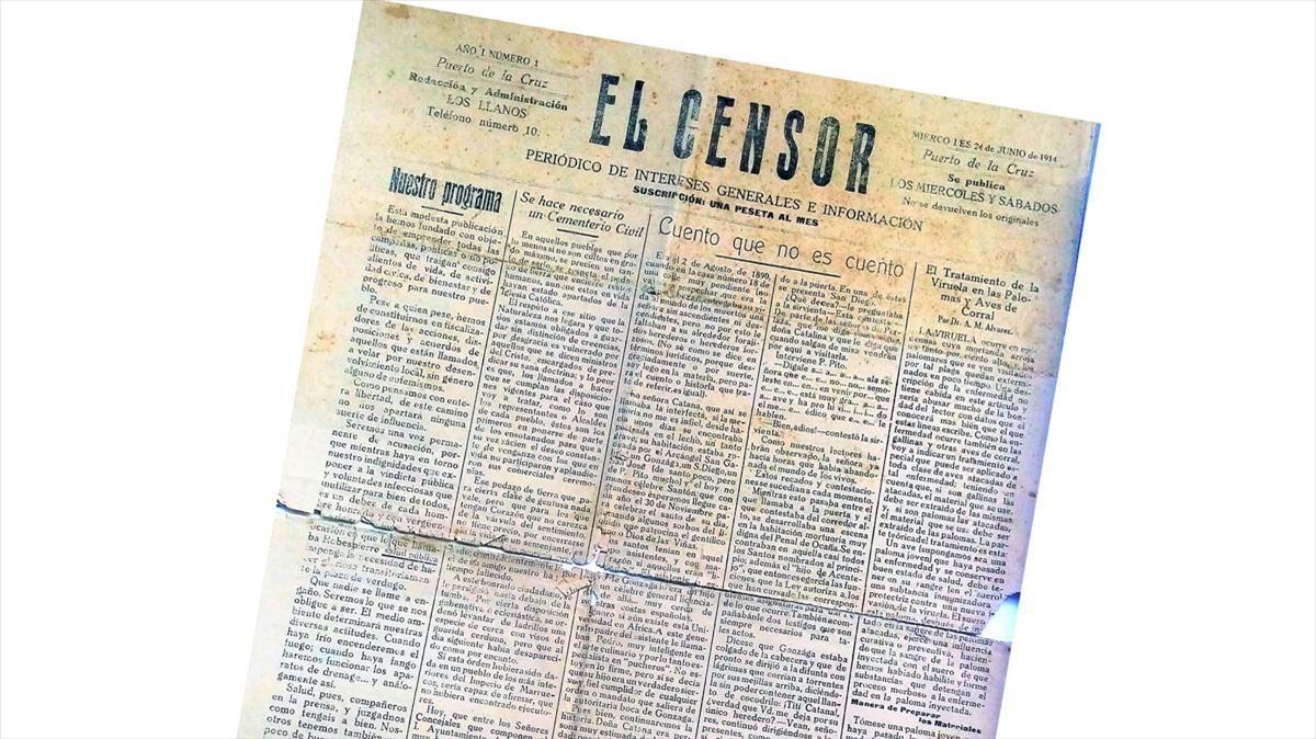 Portada del número 1 del periódico 'El Censor'.