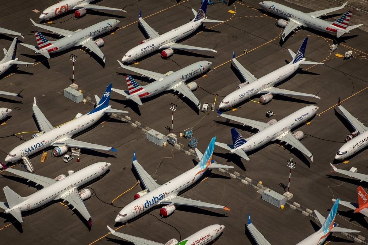 Aviones de Boeing en tierra en el aeropuerto de Seattle.