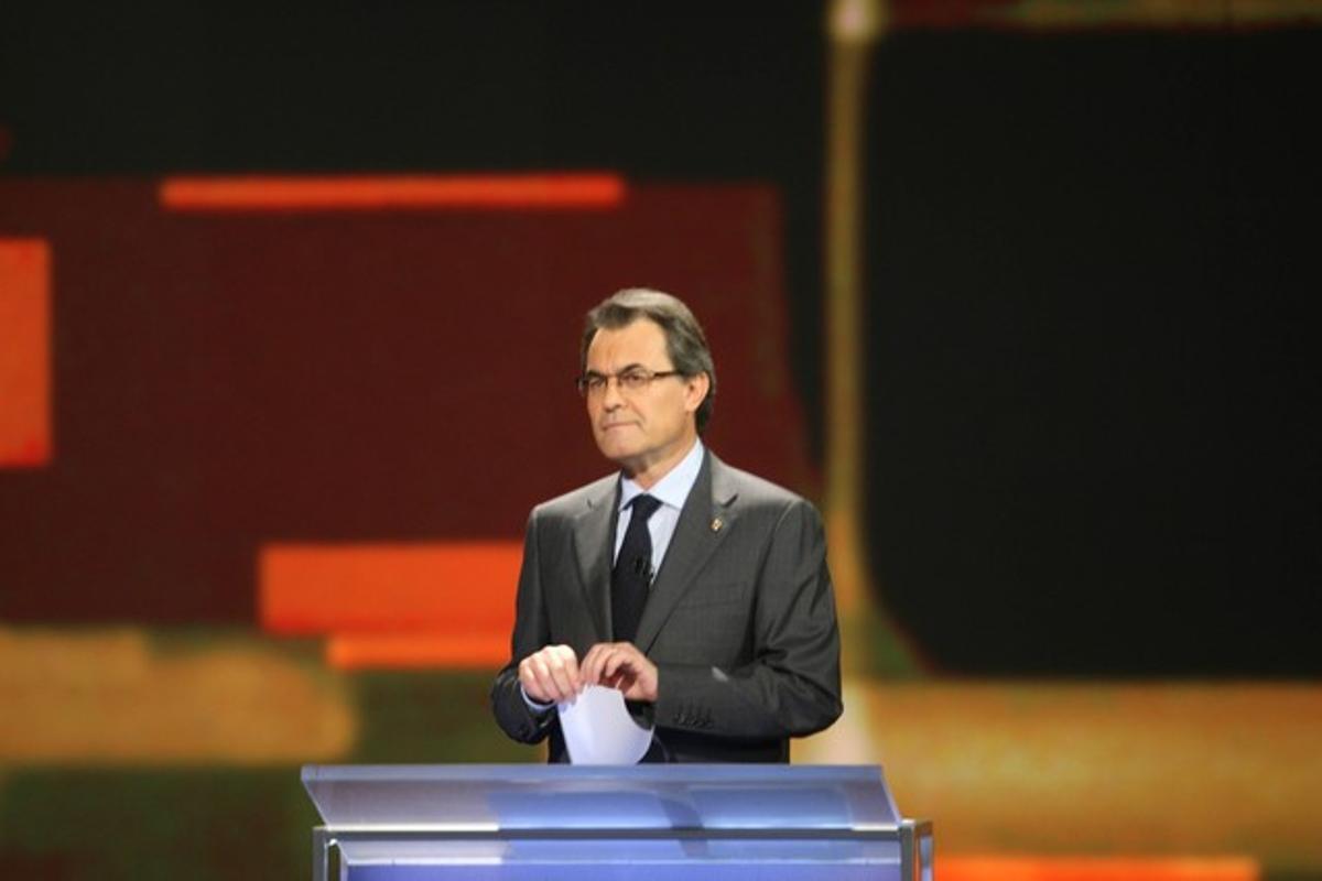 Artur Mas, durante el debate de este domingo en TV-3.