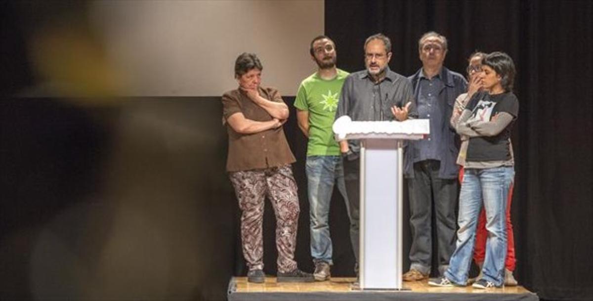 Botran, Baños, Julià de Jòdar, Reguant y Gabriel, en un acto de la CUP.