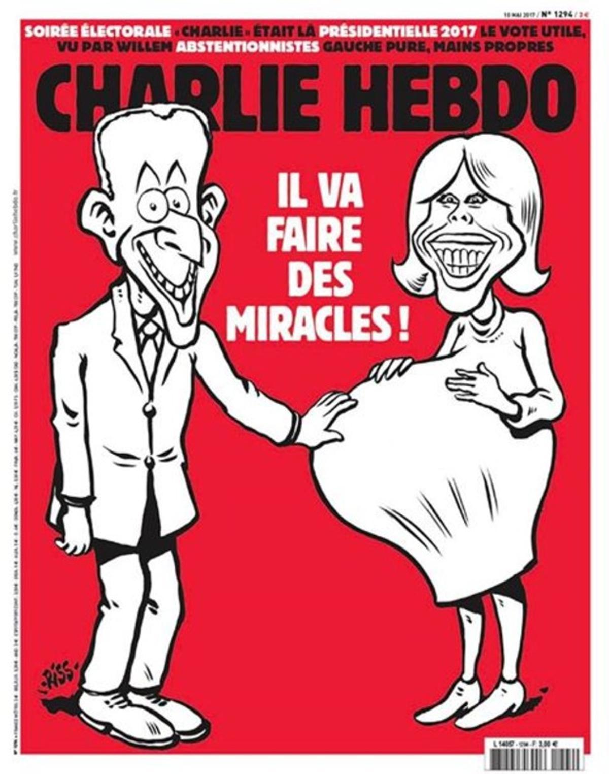La caricatura de Charlie Hebdo que muestra un dibujo de Brigitte embarazada.