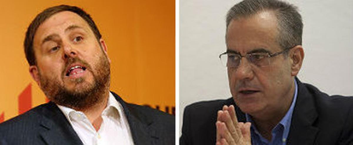 El líder de ERC, Oriol Junqueras, y el exministro socialista Celestino Corbacho.