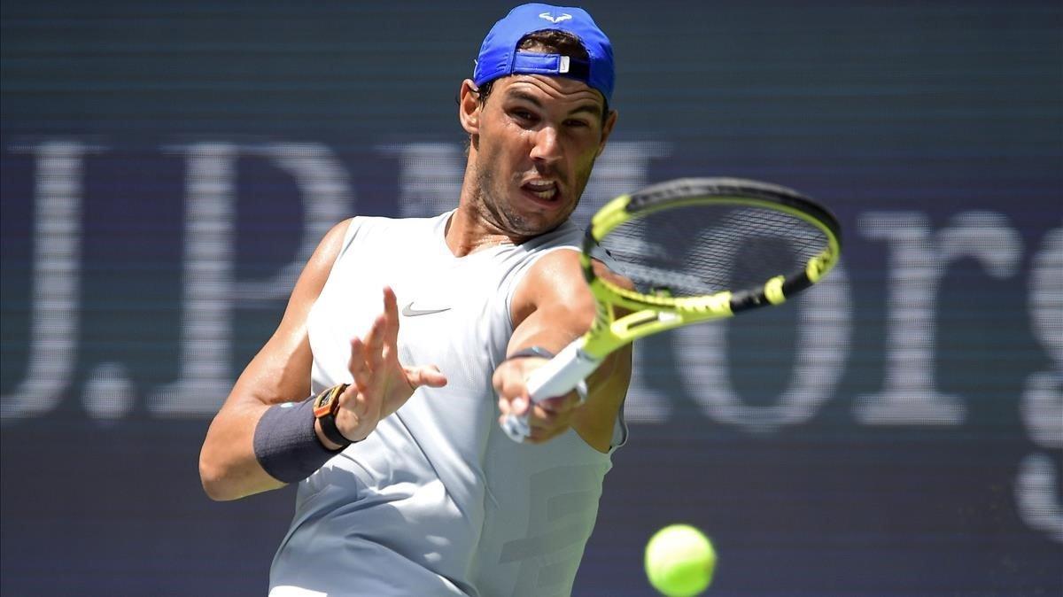 Rafa Nadal durante un entrenamiento previo al Abierto de Estados Unidos en el Centro Nacional de Tennis Billie Jean King (Nueva York).