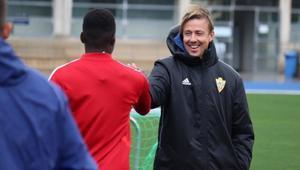 Guti, en un entrenamiento del Almería.