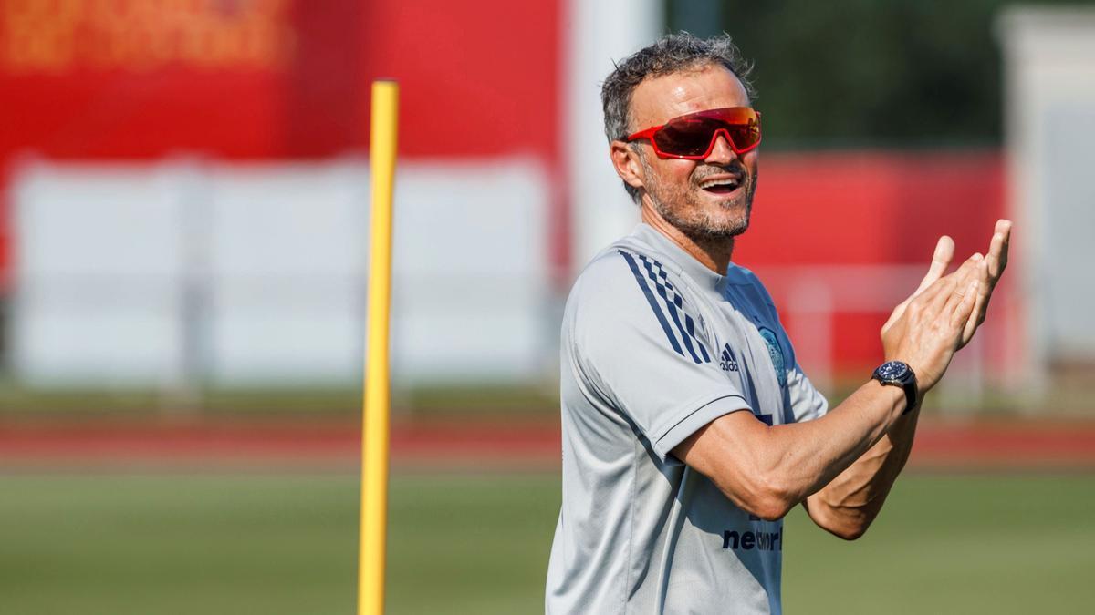 Luis Enrique, en un entrenamiento de la selección española en la ciudad deportiva de Las Rozas.