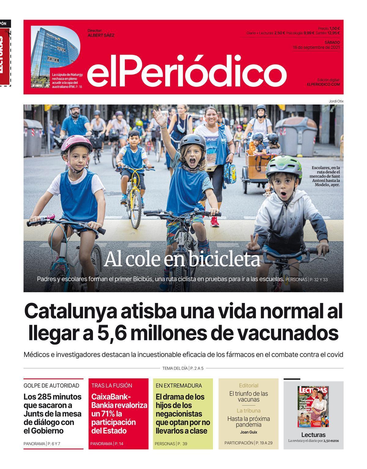 La portada de EL PERIÓDICO del 18 de septiembre del 2021.