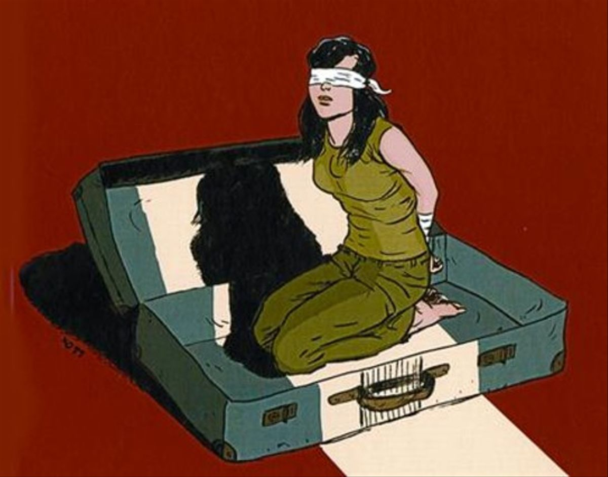 A SEIS MANOS 3Arriba, ilustración de portada de 'Plagio'. Abajo, el dibujante Joan Marín, el guionista Hernán Migoya (centro) y Melina, ayer.