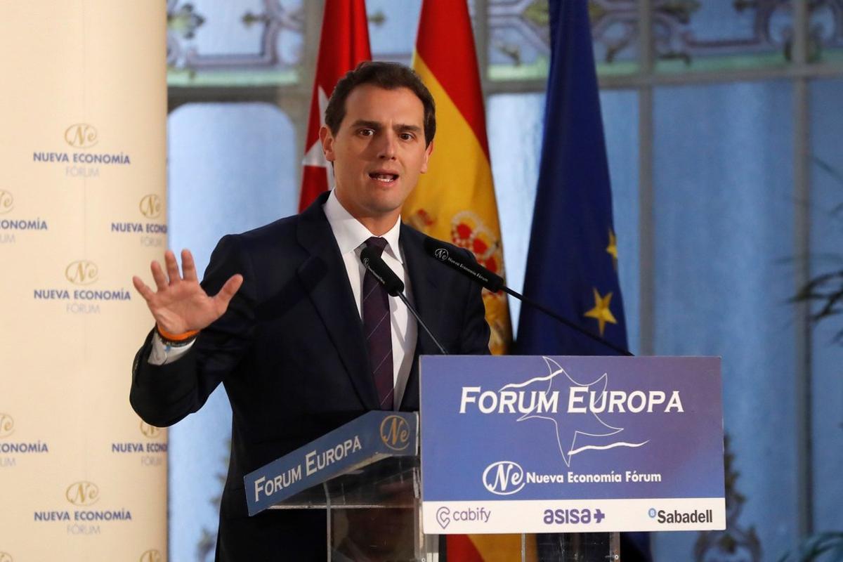 El presidente de Ciudadanos, Albert Rivera, en el desayuno informativo protagonizado por Ignacio Aguado en Madrid.