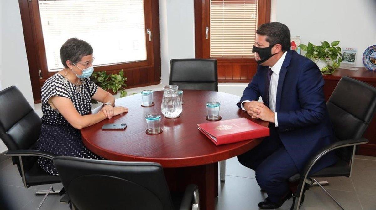 La ministra de Exteriores, Arancha González Laya, y el ministro principal de Gibralta, Fabián Picardo, en la reunión del jueves