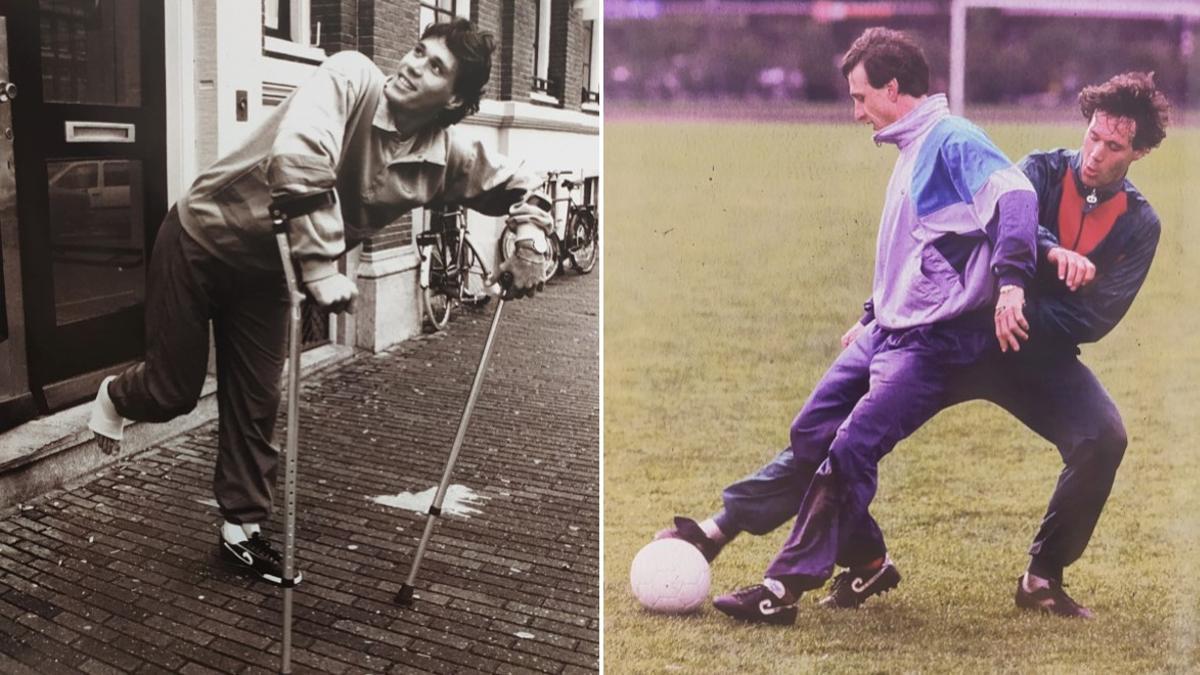 A la izquierda, Van Basten después de su primera operación en 1987; a la derecha, junto a Johan Cruyff durante su rehabilitación en febrero de 1988.