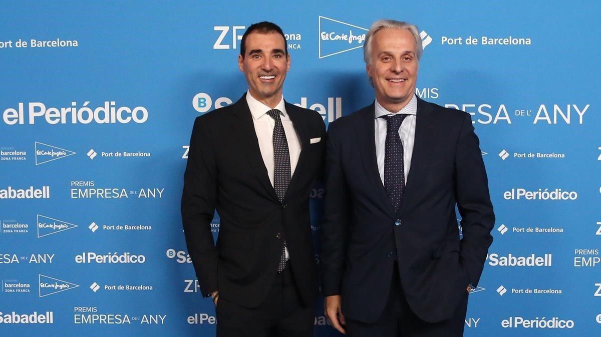 De izda a dcha,Miguel Vicente de Barcelona Techcity y Fede Segarra, de Damm.