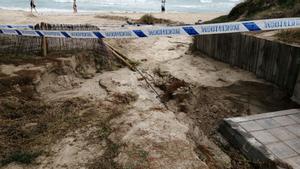 Playa de Mallorca afectada por las inundaciones.