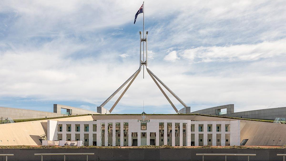 El parlamento australiano, en la ciudad de Canberra.