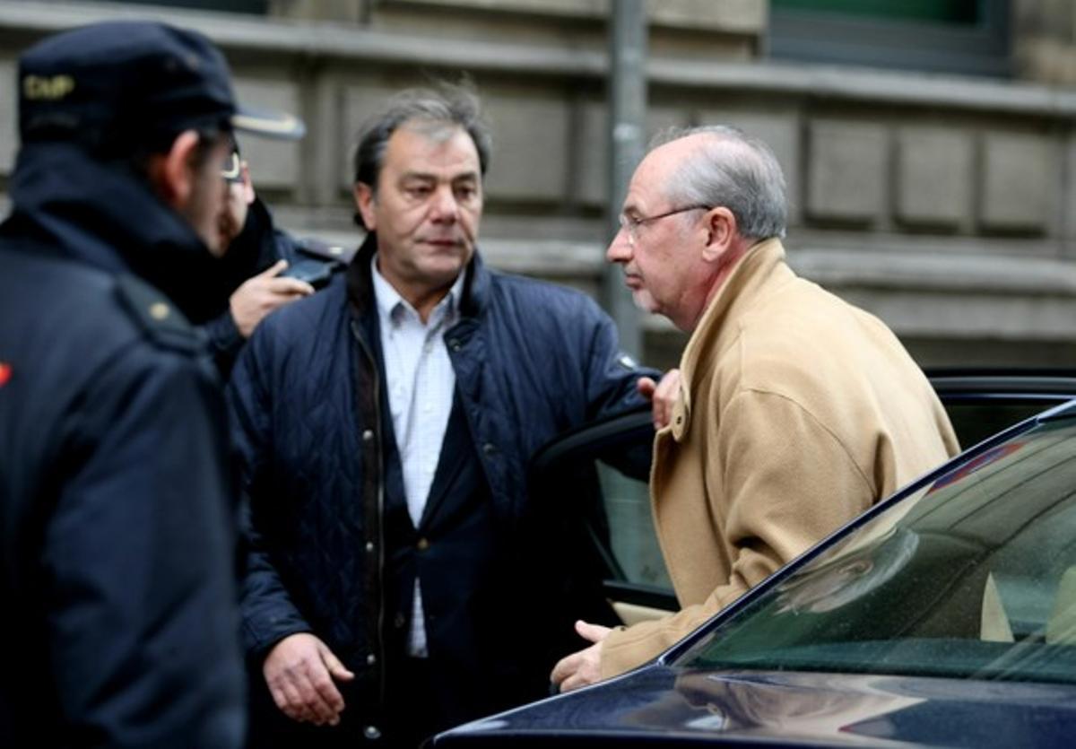 Rato, a su llegada a la Audiencia Nacional, donde ha declarado por el 'caso Bankia'.