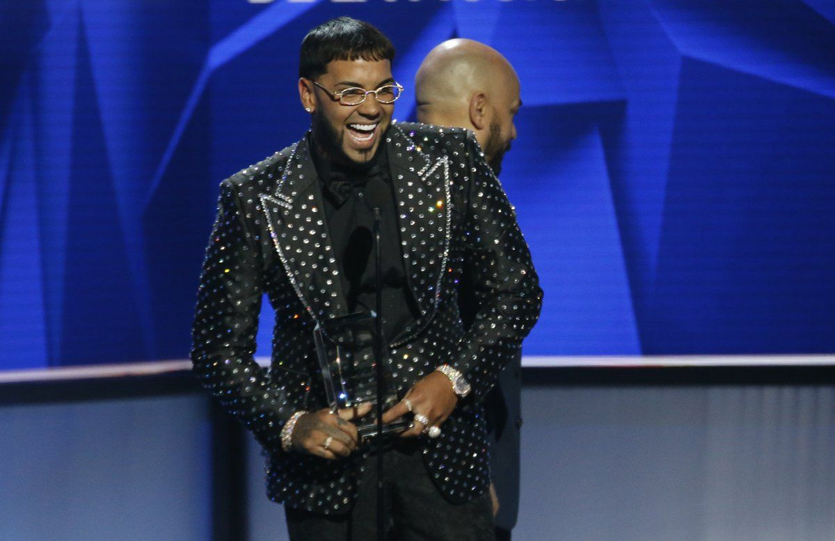 Singer Anuel AA accepts the award for new artist of the year at the 26th annual Billboard Latin Music Awards on April 25, 2019 in Las Vegas, Nevada, United States.