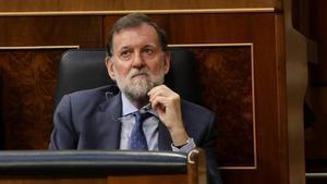 El entonces presidente del Gobierno Mariano Rajoy, en el Congreso.