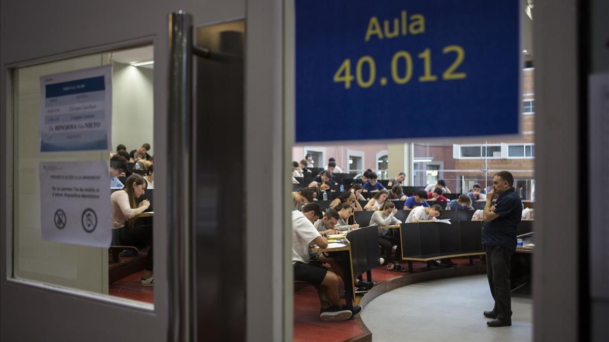 Un aula del campus de la Universitat Pompeu Fabra.