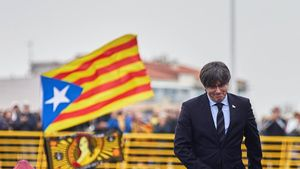 El 'expresident' Carles Puigdemont, en un acto político enPerpinyà.