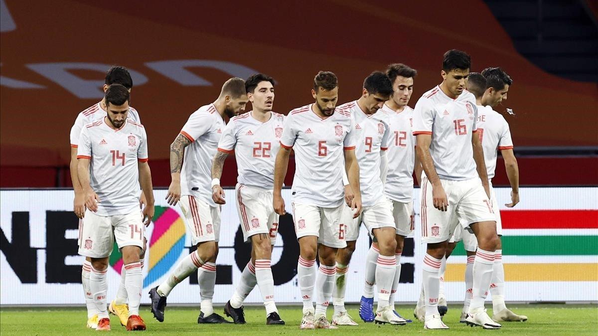 España celebra el gol de Canales en el partido ante Países Bajos /EFE