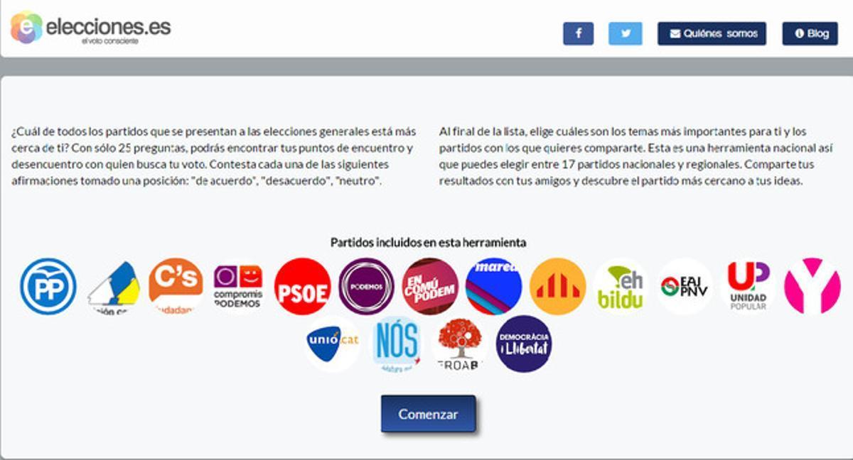 Portada de la web 'Elecciones.es'