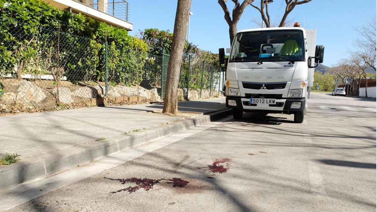 Restos de sangre en la calle de Roses donde estaba aparcado el vehículo con el cadáver.