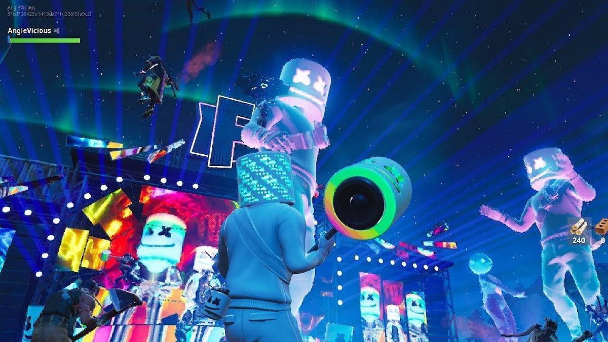 Imagen del concierto del DJ Marshmello dentro de Fortnite.